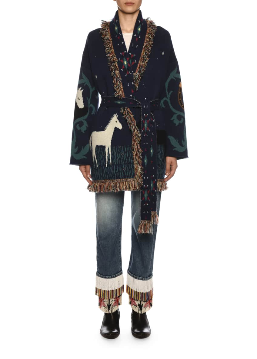 Image 4 of 5: Fringe-Beads Straight-Leg Boyfriend Jeans