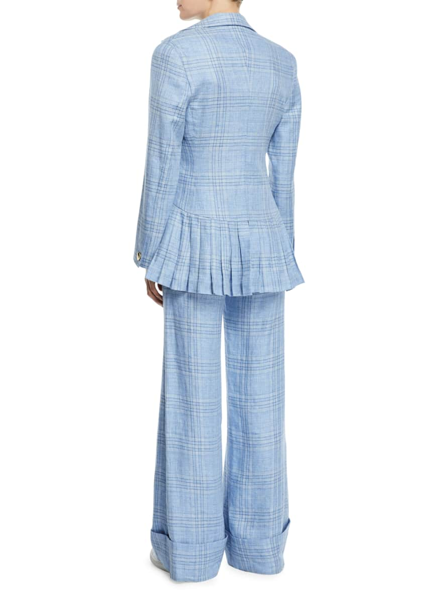 Image 5 of 5: Always Here For You Cuffed Linen Check Pants