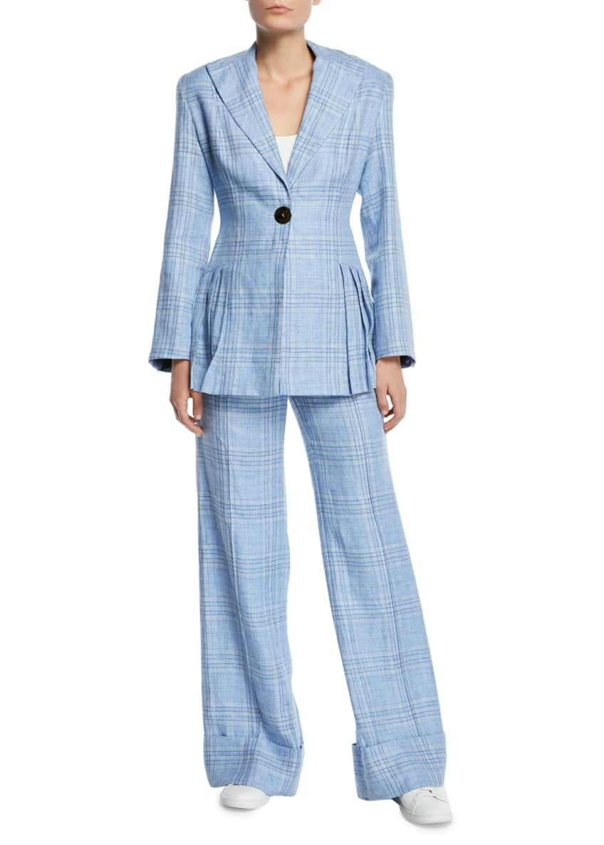 Image 4 of 5: Always Here For You Cuffed Linen Check Pants
