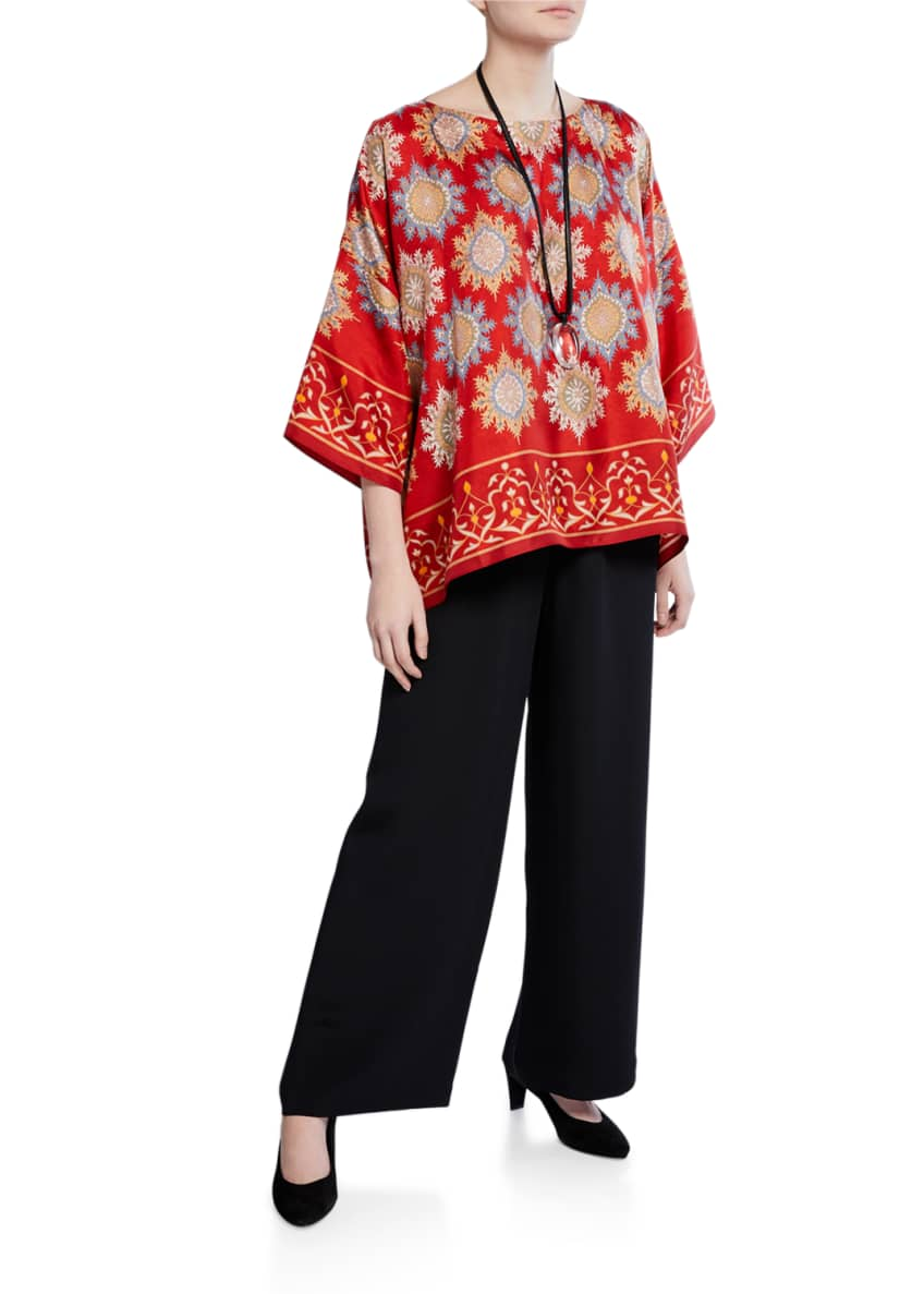 Image 6 of 7: Flared Wide-Leg Silk Trousers