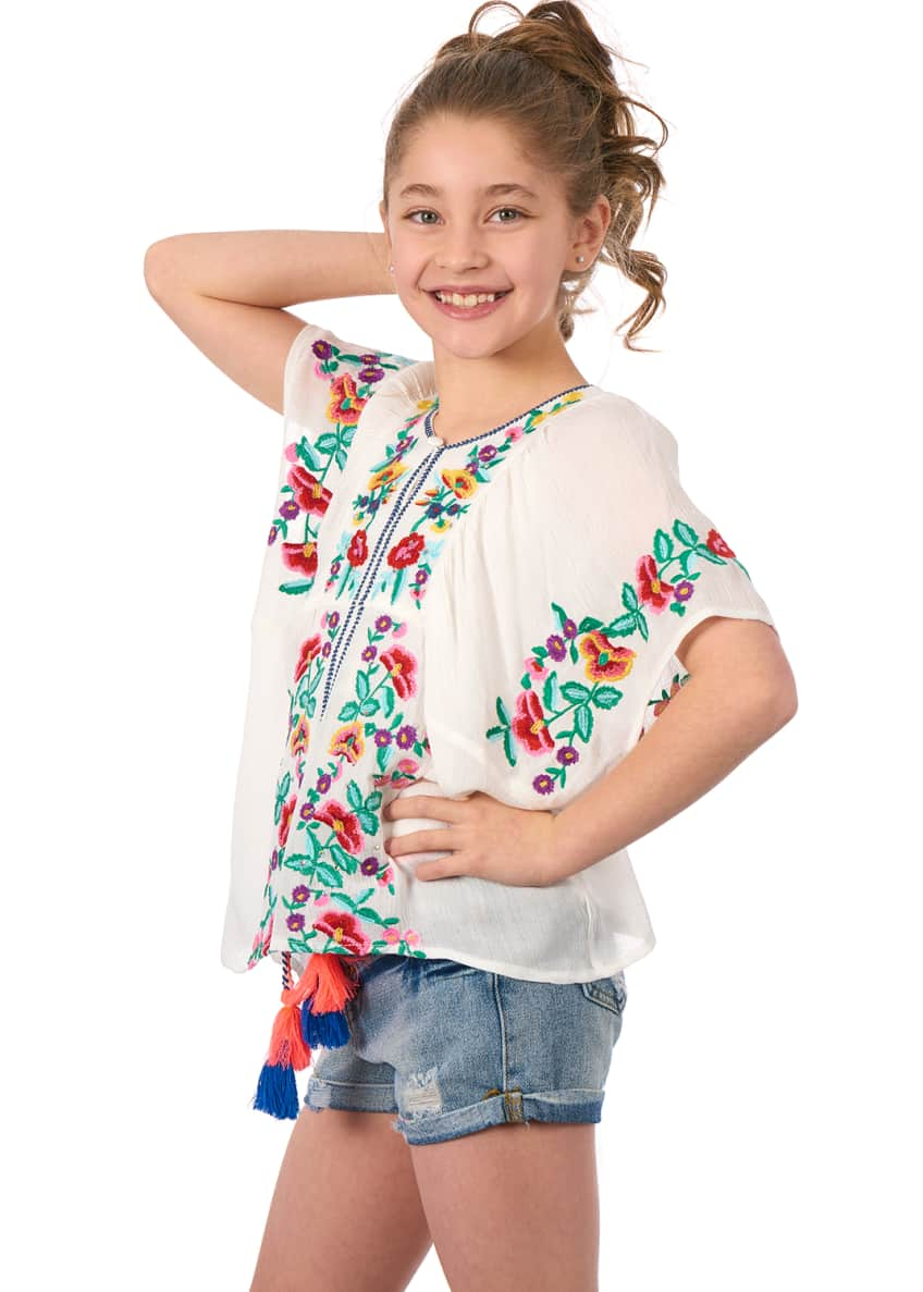 Image 6 of 6: Woven Floral Embroidered Top, Size 4-6