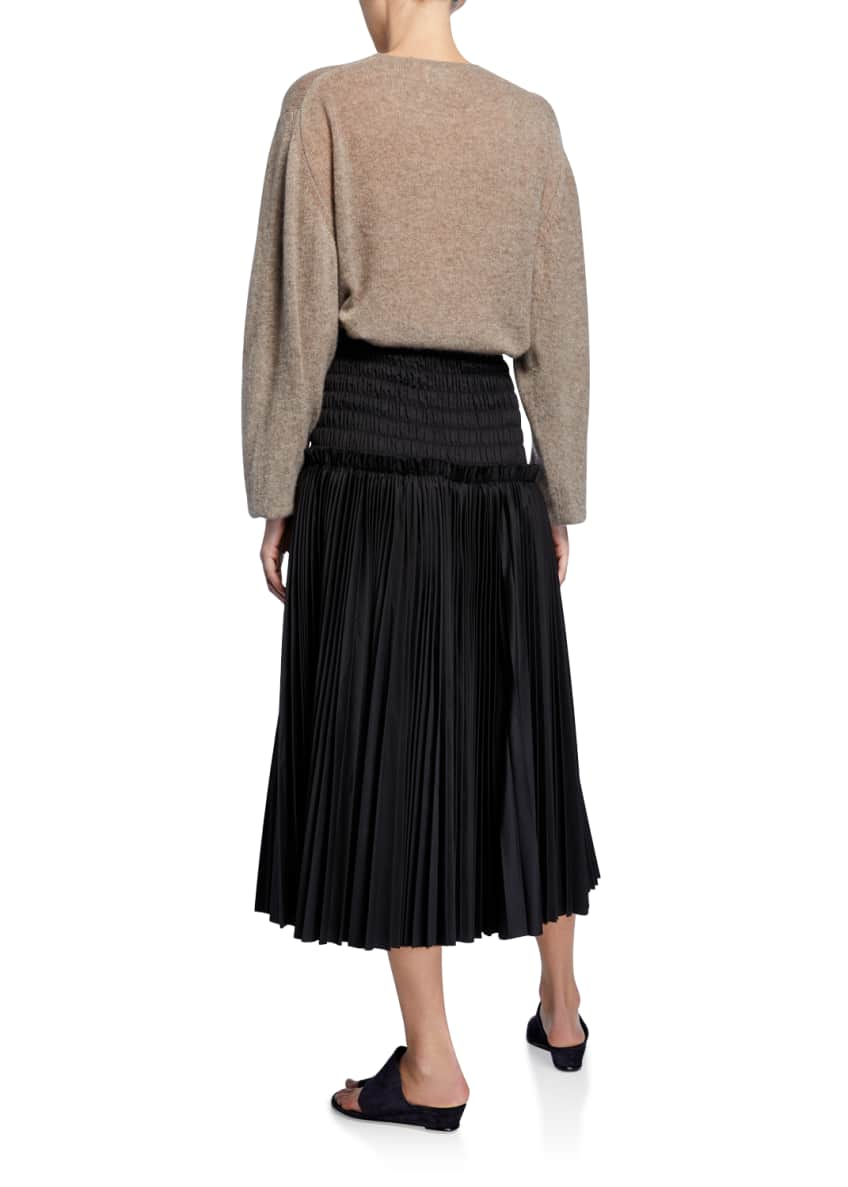 Image 5 of 5: Emma Cashmere Plunging Tie-Neck Sweater