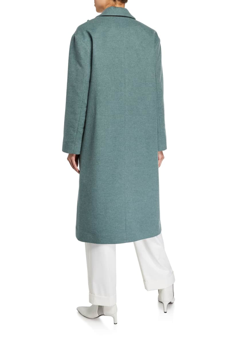 Image 4 of 4: Melton Wrap Coat