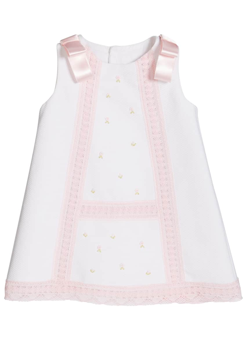 Image 3 of 4: Girl's Pique Lace-Trim Dress, Size 3-18 Months