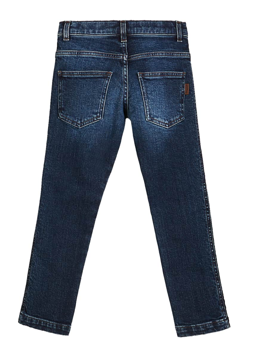 Image 4 of 4: Girl's Denim Jeans w/ Logo Tape Sides, Size 4-6