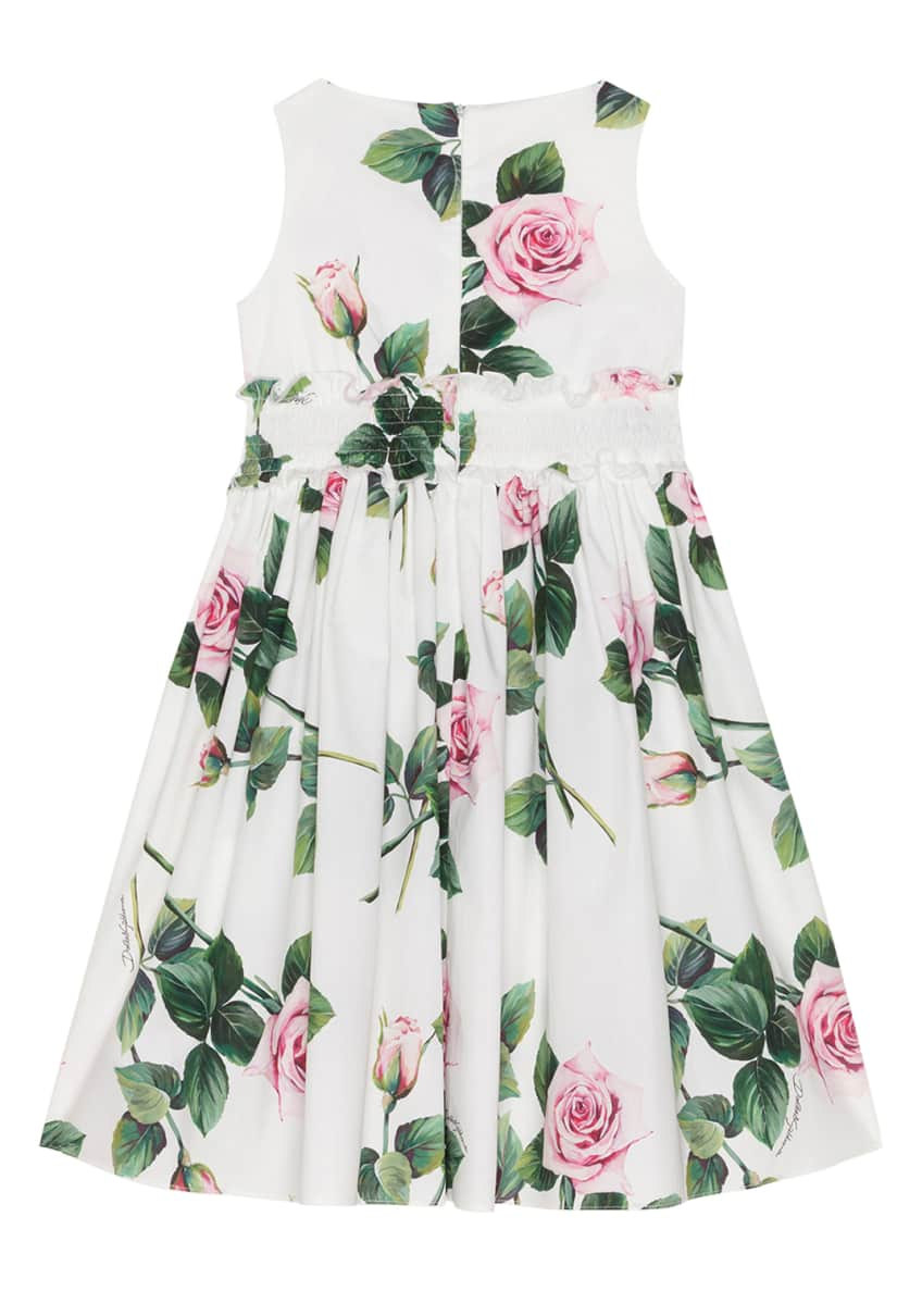 Image 4 of 4: Girl's Tropical Rose Shirred Waist Dress, Size 4-6