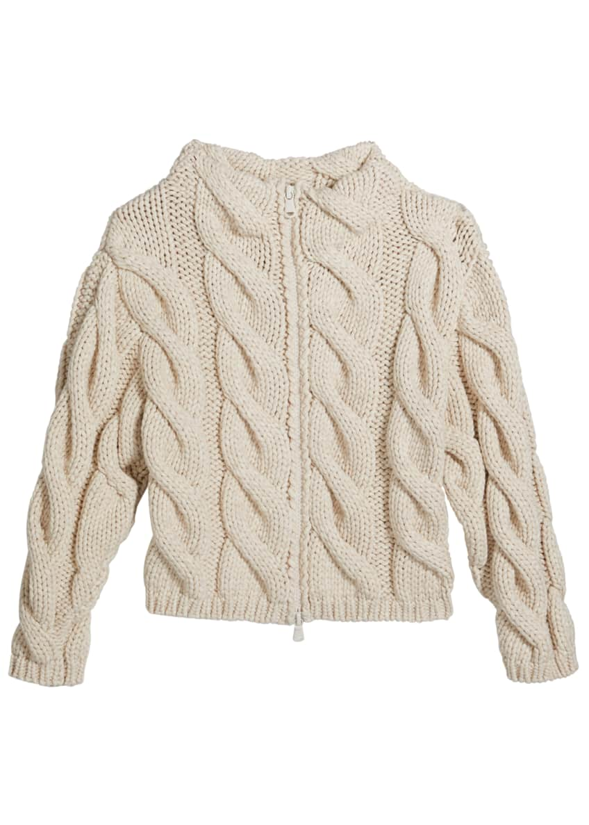Image 2 of 2: Girl's Zip-Front Chunky Cable Knit Cardigan, Size 8-10