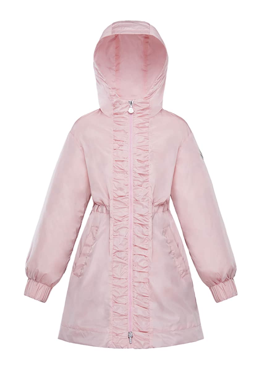 Image 3 of 4: Girl's Lika Ruched Trim Long Coat, Size 4-6