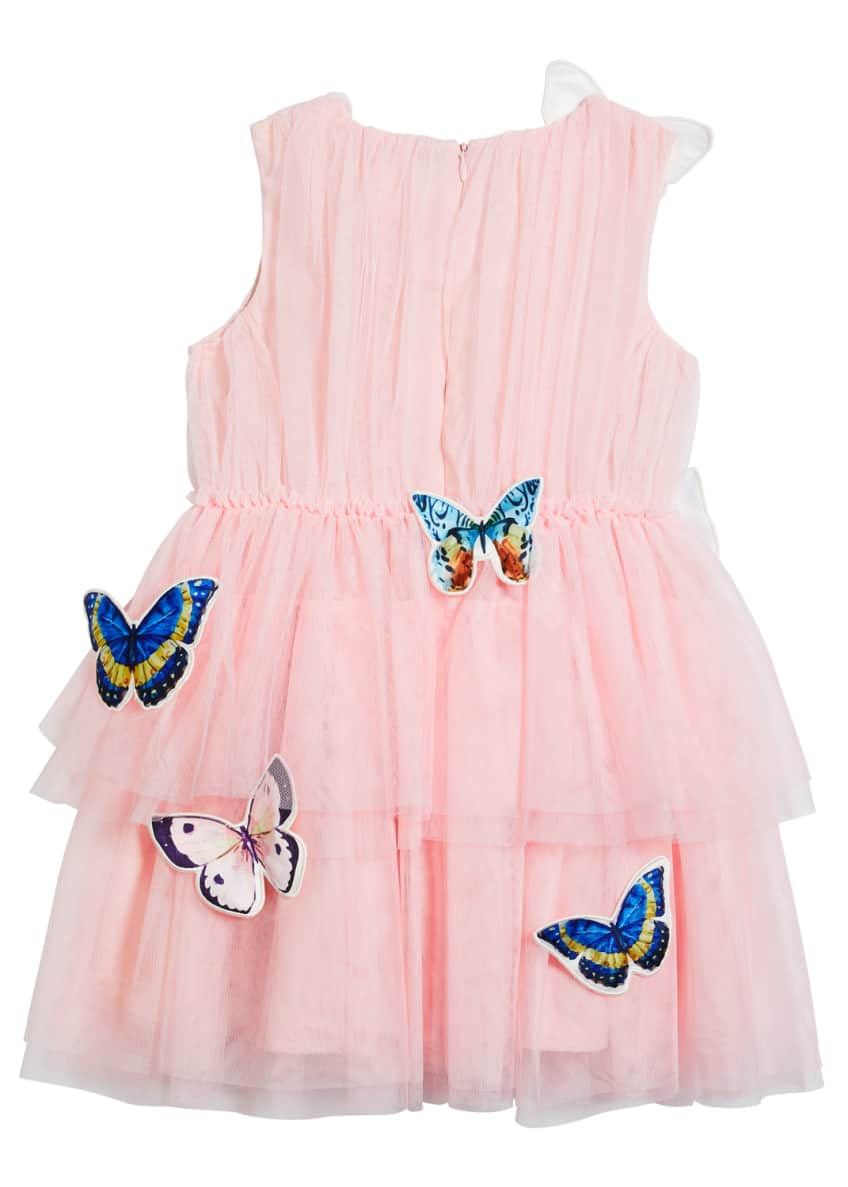 Image 5 of 5: Girl's Isabella Tulle Butterfly Dress, Size 4-5