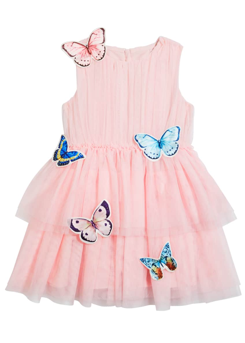 Image 4 of 5: Girl's Isabella Tulle Butterfly Dress, Size 4-5