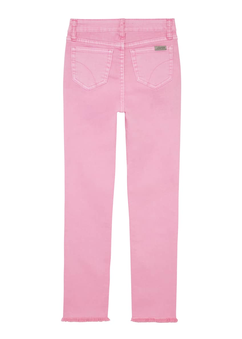 Image 4 of 4: Girl's Neon Dyed Raw-Hem Twill Skinny Jeans, Size 4-6X