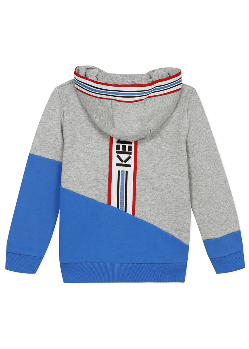Image 6 of 8: Boy's Logo Tape Zip-Front Fleece Hoodie Jacket, Size 2-6