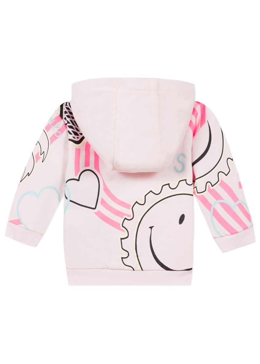 Image 5 of 6: Girl's Multi Icon Graphic Hooded Fleece Jacket, Size 6-18 Months