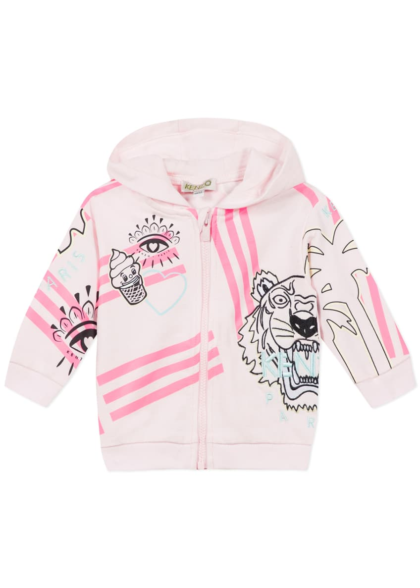 Image 4 of 6: Girl's Multi Icon Graphic Hooded Fleece Jacket, Size 6-18 Months
