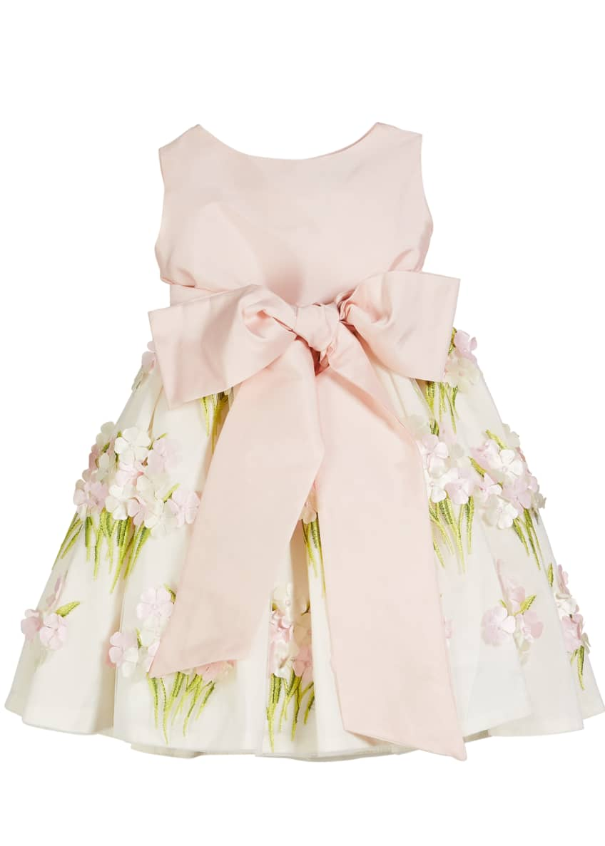 Image 3 of 4: Solid Bow Front Dress w/ Floral Bouquet Skirt, Size 12M-4T