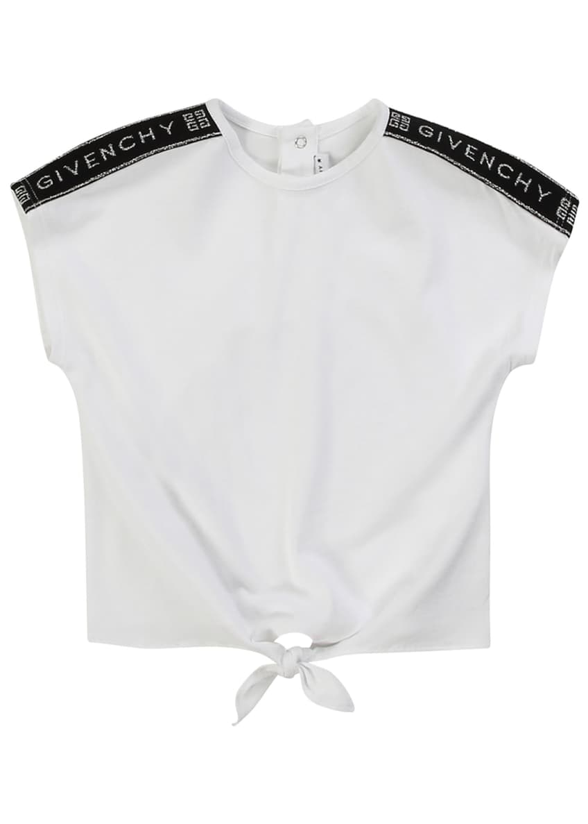 Image 4 of 4: Girl's Logo Shoulder Tie-Front Tee, Size 2-3