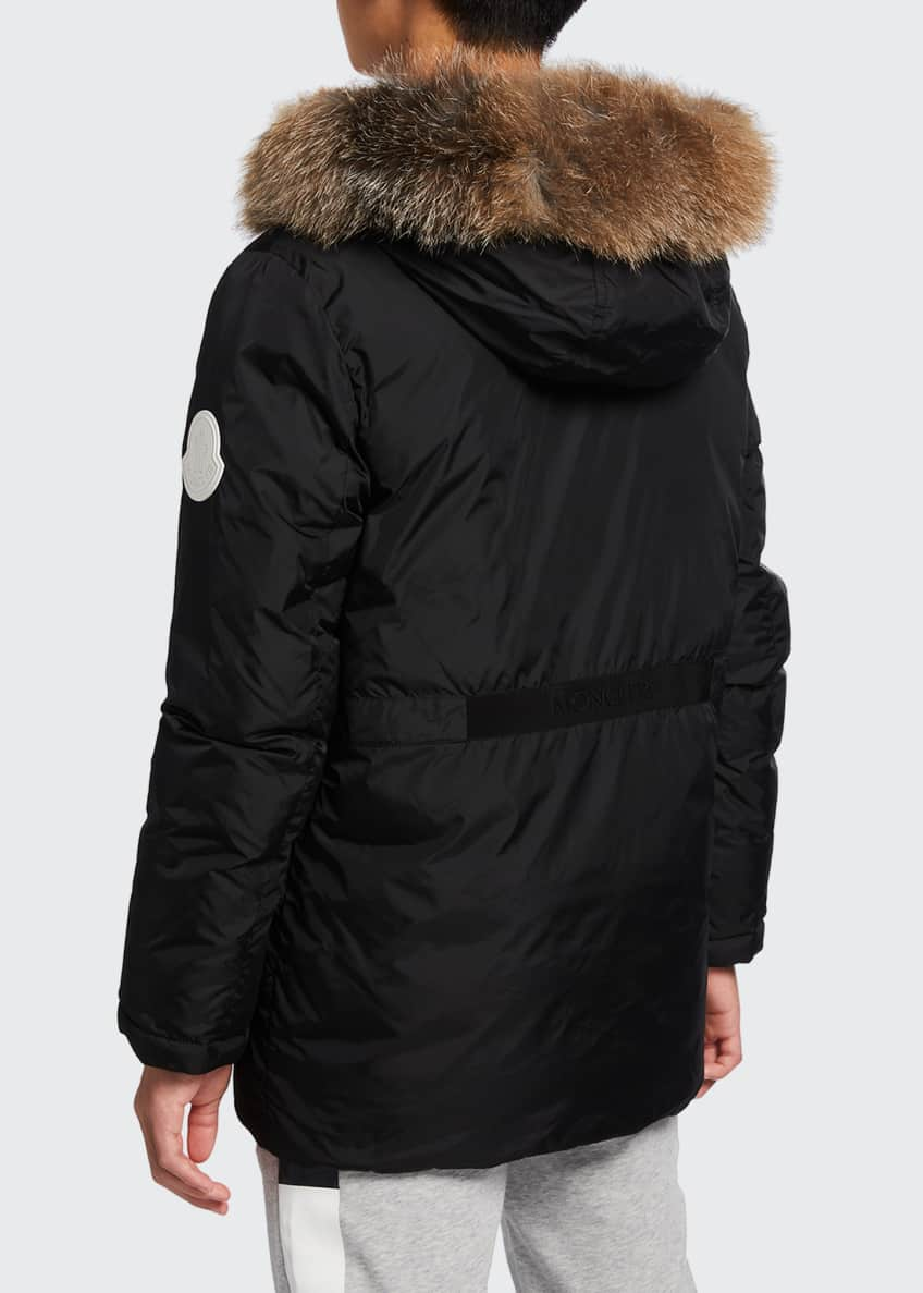 Image 8 of 10: Menue Long Hooded Parka w/ Fur Trim, Size 8-14
