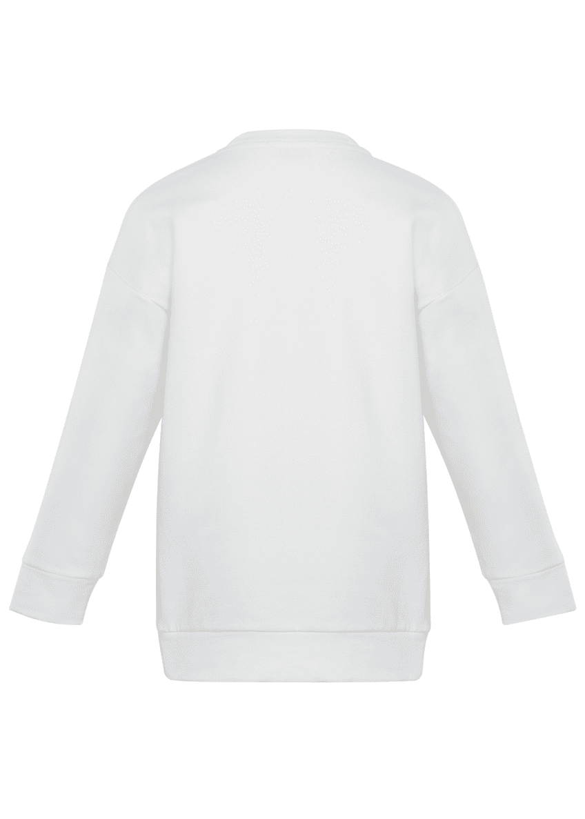 Image 5 of 6: Girl's Long-Sleeve Embroidered Sweatshirt, Size 8-14