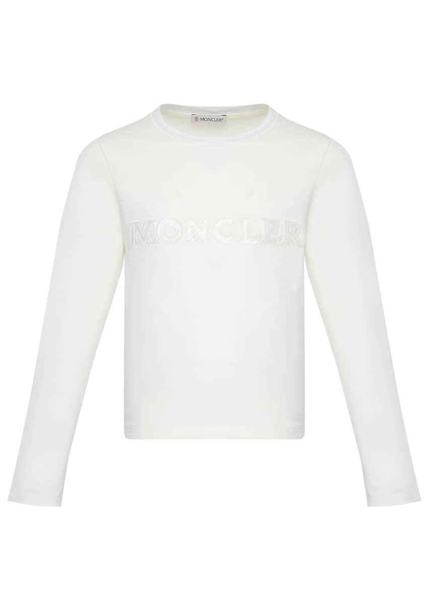 Image 3 of 4: Girl's Long-Sleeve Block Logo T-Shirt, Size 8-14