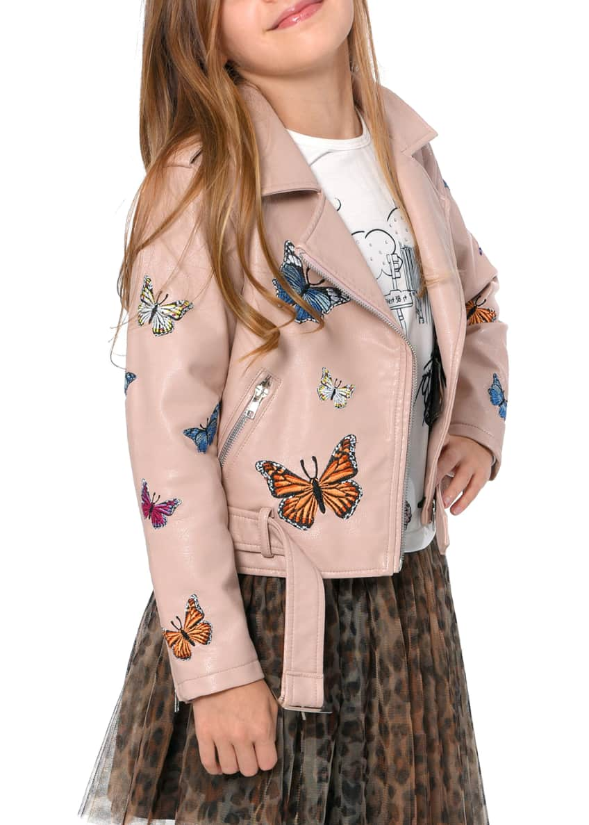 Image 5 of 6: Girl's Vegan Leather Butterfly Moto Jacket, Size 4-6X