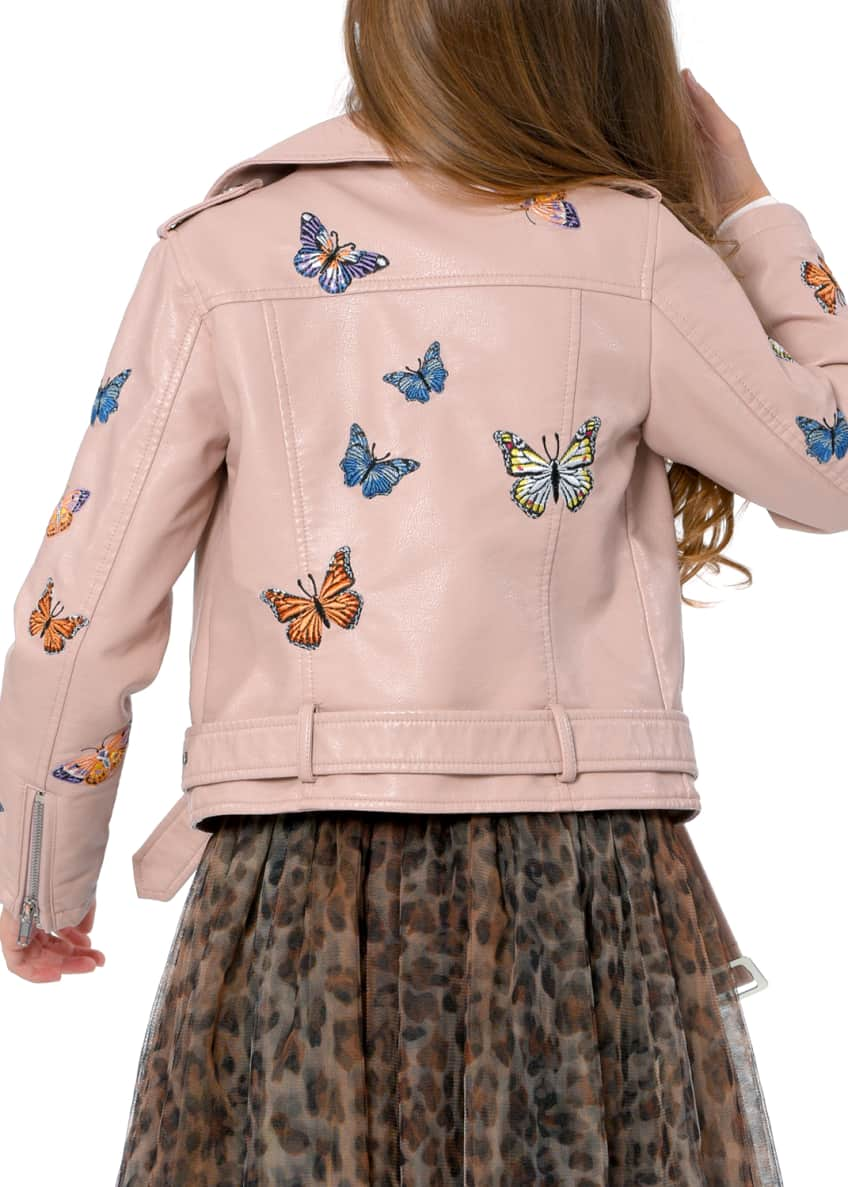 Image 6 of 6: Girl's Vegan Leather Butterfly Moto Jacket, Size 4-6X