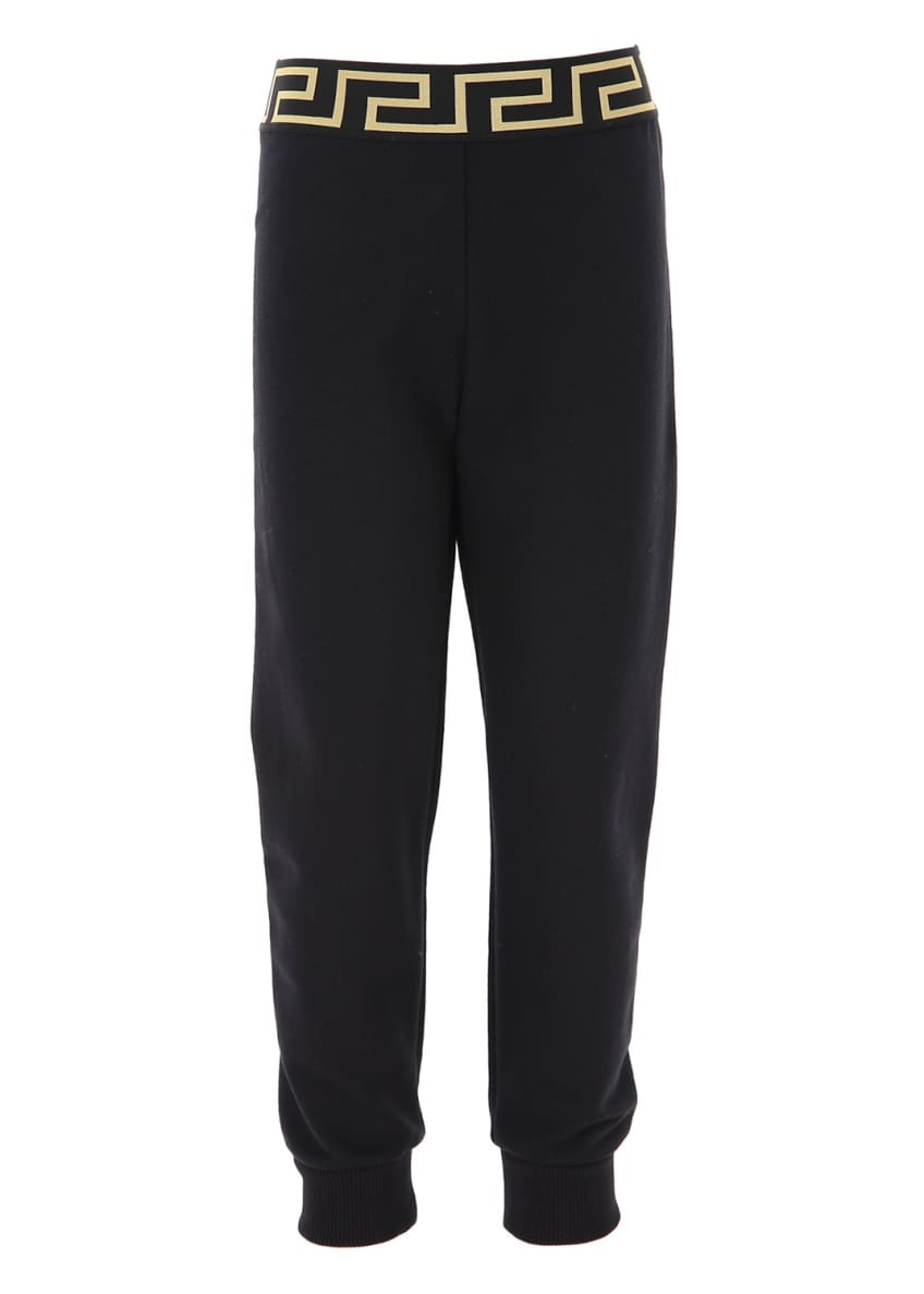 Image 2 of 2: Kids' Jog Pants With Greek Keys Waistband, Size 8-14