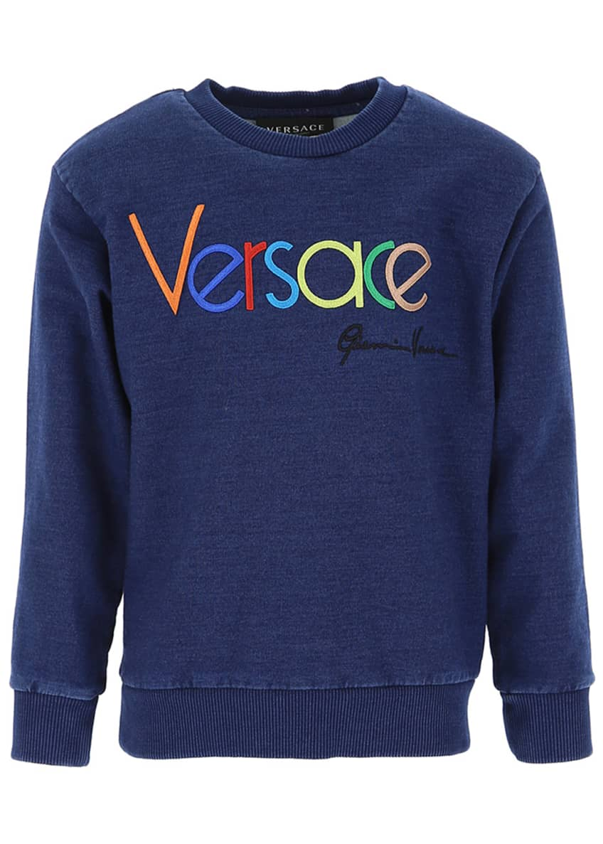 Image 2 of 2: Kid's Embroidered Rainbow Logo Sweatshirt, Size 8-14