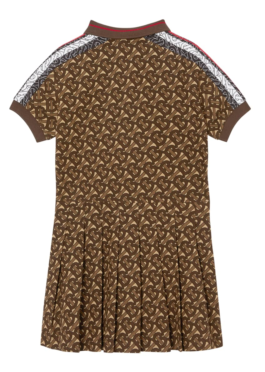 Image 5 of 6: Girl's Kayleigh Pleated TB-Monogram Dress, 12M-2