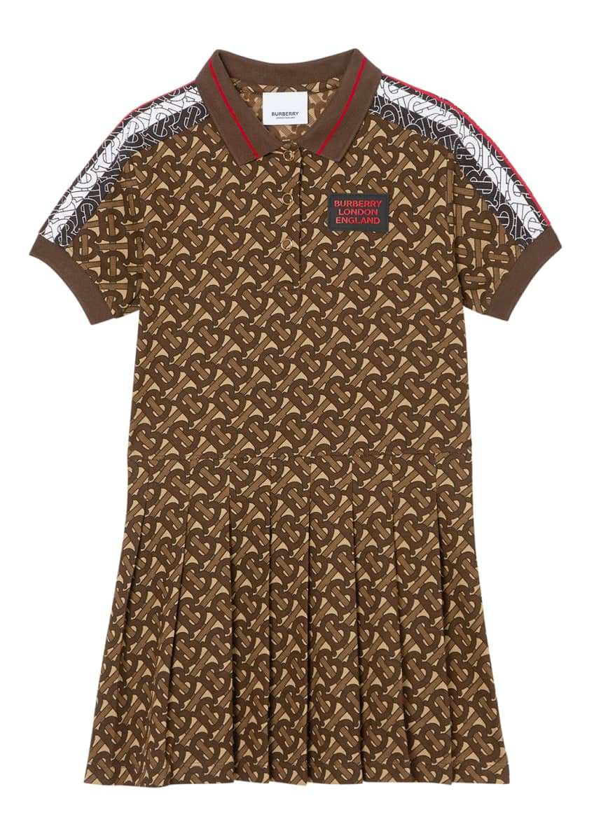Image 4 of 6: Girl's Kayleigh Pleated TB-Monogram Dress, 12M-2
