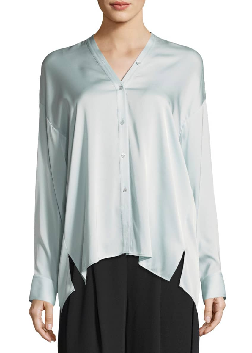Vince Trapunto V-Neck Button-Front Silk Blouse & Matching