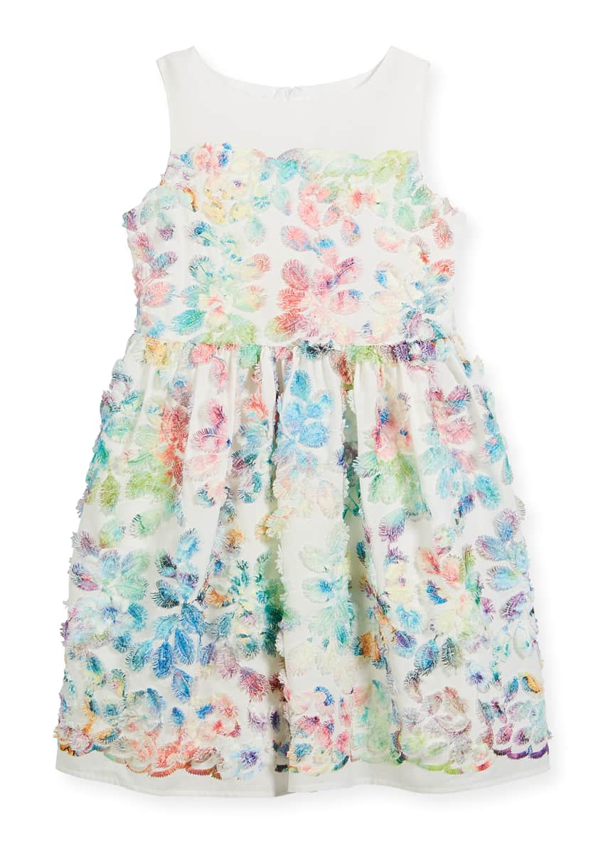 Charabia Watercolor Floral Sleeveless Dress, Size 2-4 &