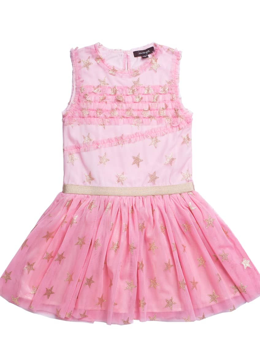 Imoga Glitter Star Ruffle-Trim Mesh Dress, Size 4-6