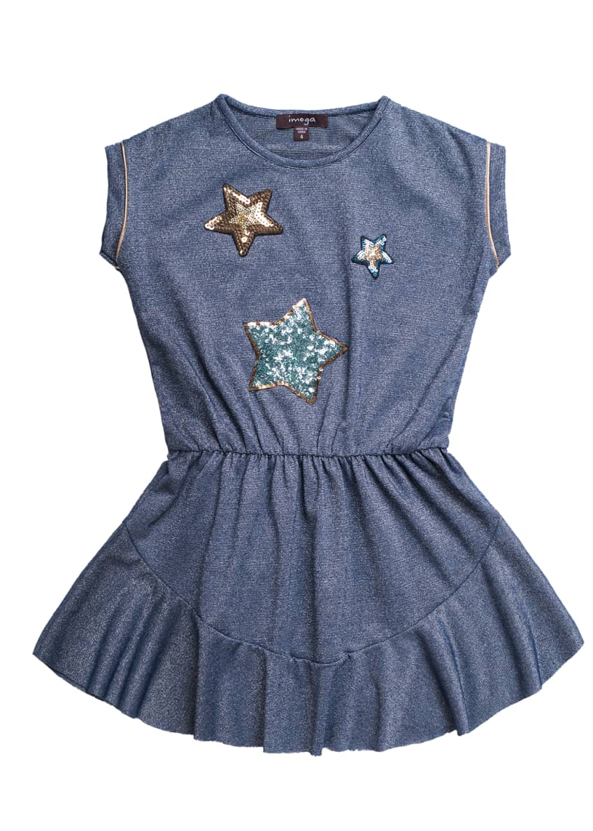 Imoga Solid Jersey Dress w/ Star Sequin Patches,