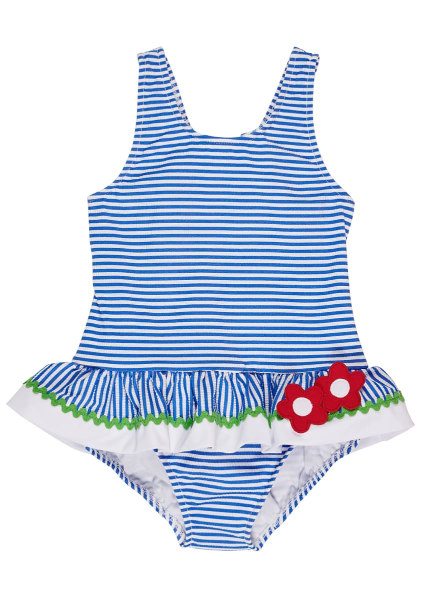Florence Eiseman Striped Seersucker One-Piece Swimsuit, Size 6-24