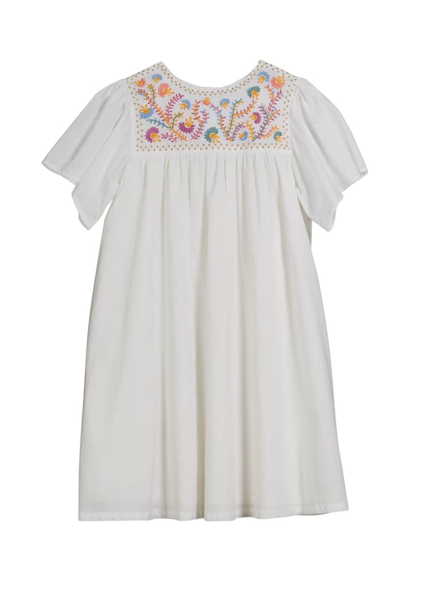 Velveteen Priya Short-Sleeve Embellished Yoke Dress, Size 3-6