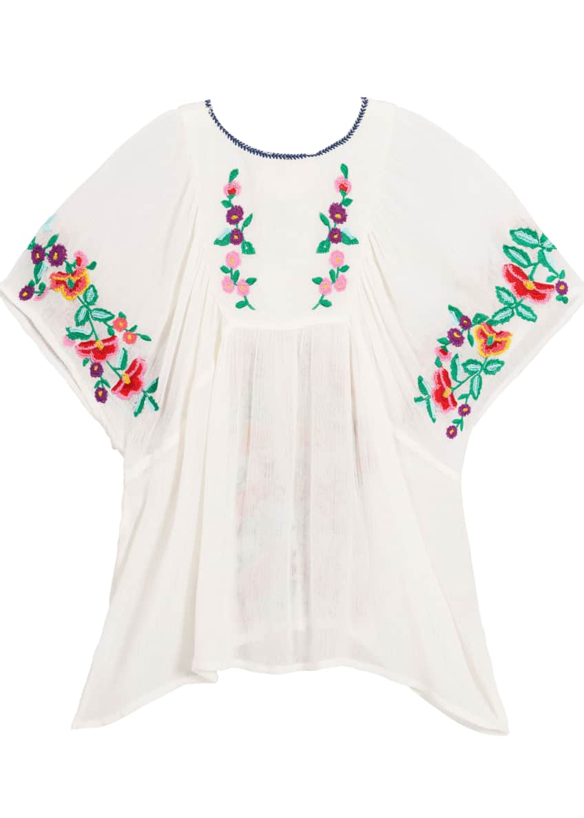 Image 2 of 6: Woven Floral Embroidered Top, Size 4-6