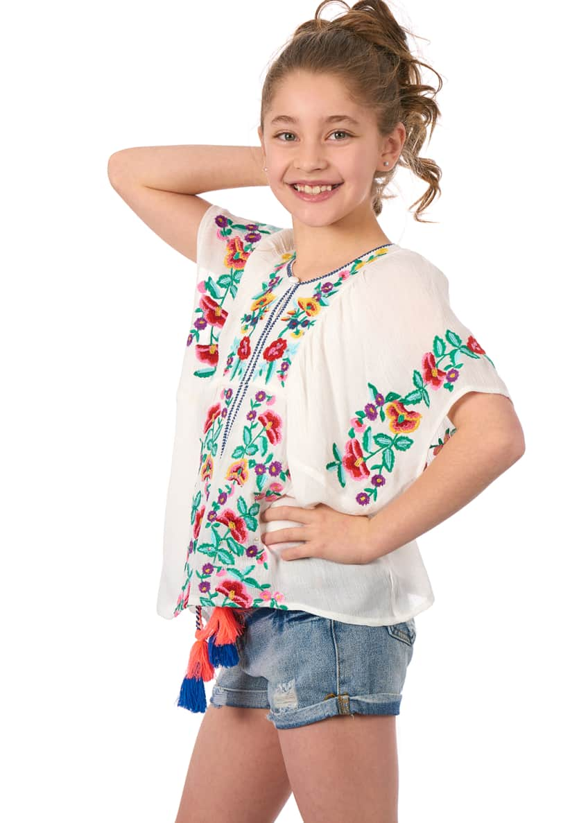Image 3 of 6: Woven Floral Embroidered Top, Size 4-6