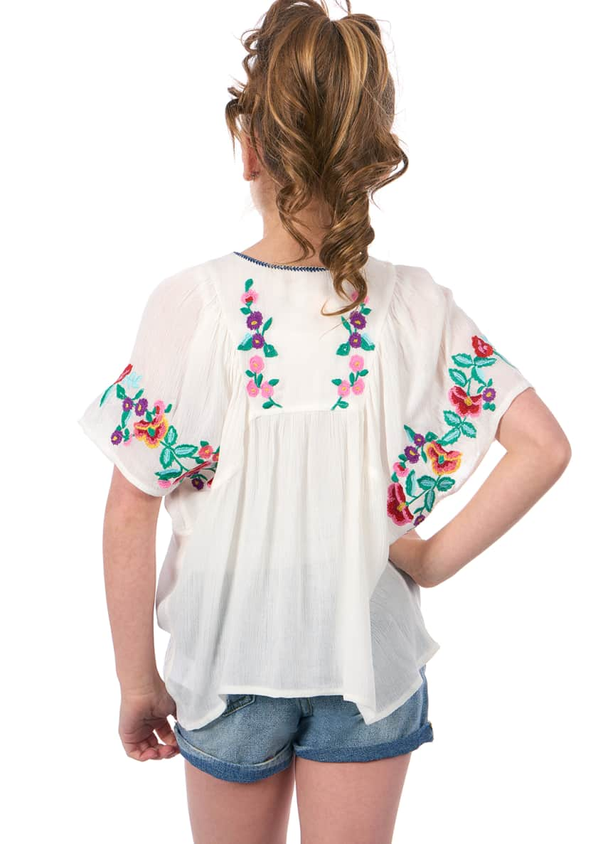 Image 4 of 6: Woven Floral Embroidered Top, Size 4-6