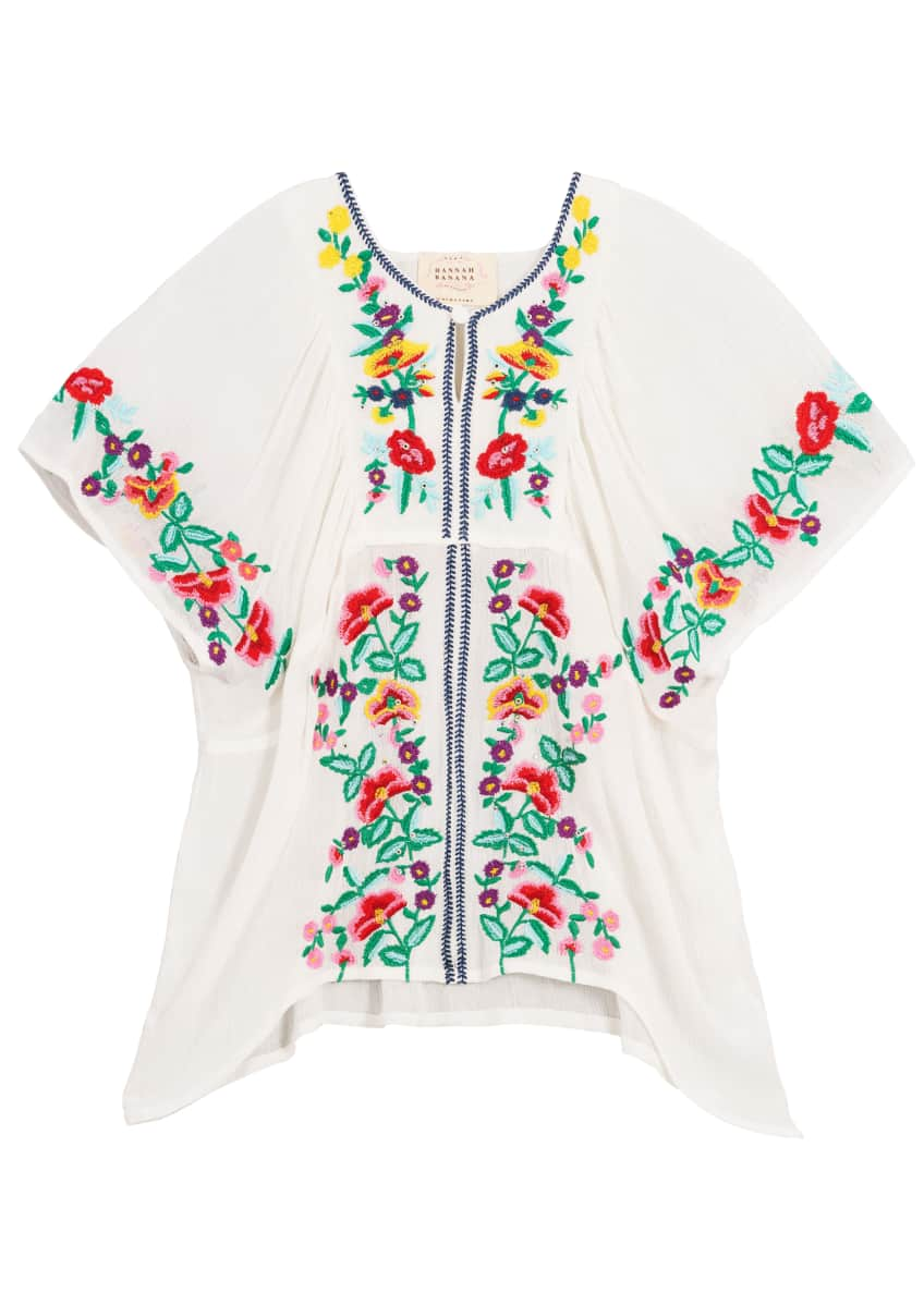 Woven Floral Embroidered Top, Size 4-6
