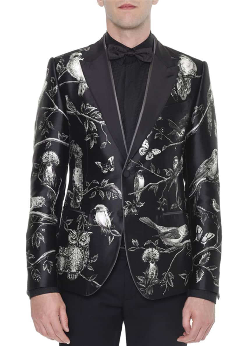 Dolce & Gabbana Forest-Print Silk Evening Jacket, Jacquard