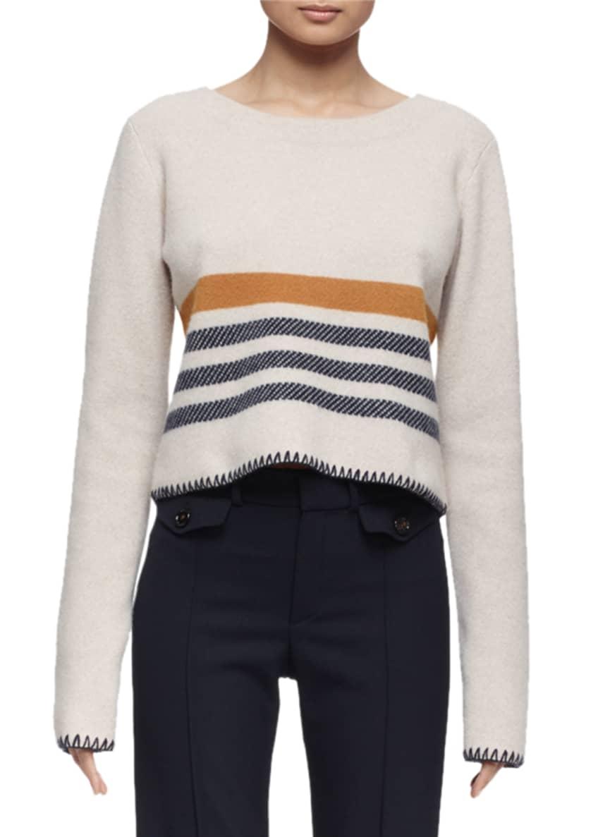 Chloe Long-Sleeve Blanket Crewneck Sweater & Wool Boot-Cut