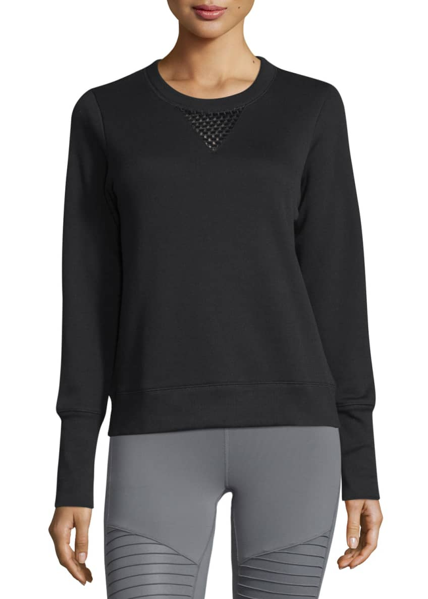 Alo Yoga Downtown Mesh-Panel Long-Sleeve Sport Pullover &