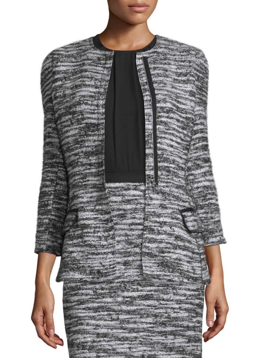 Oscar de la Renta Bracelet-Sleeve Boucle Tweed Jacket