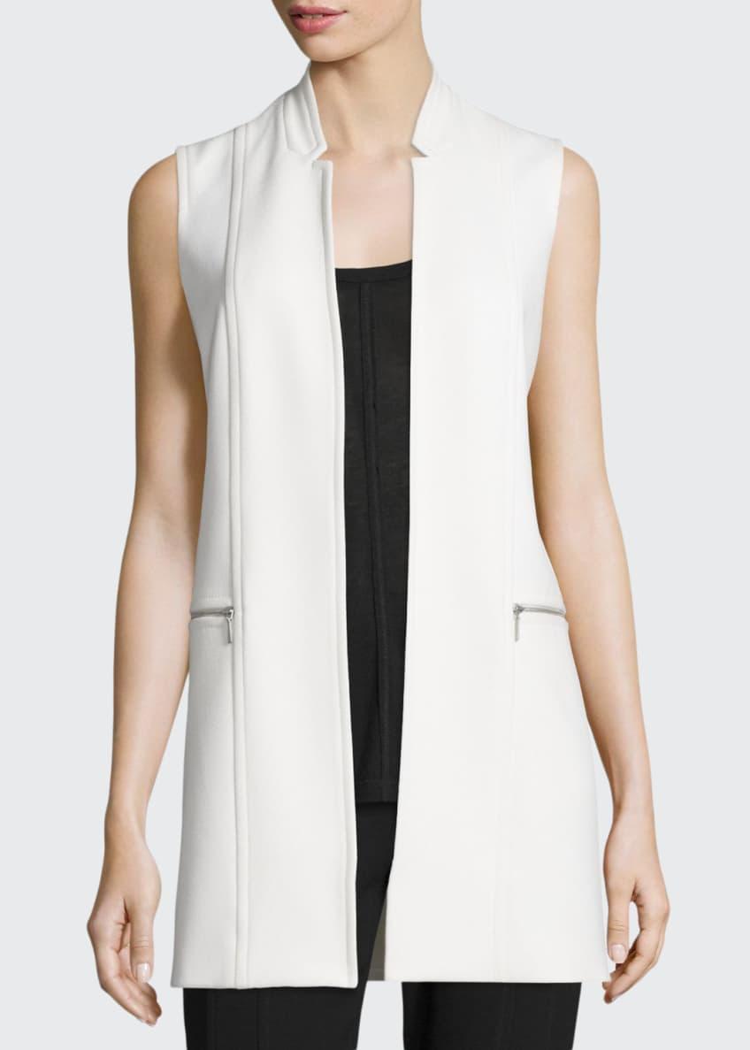 Elie Tahari Arlena Long Textured Stretch-Knit Vest, Hazel