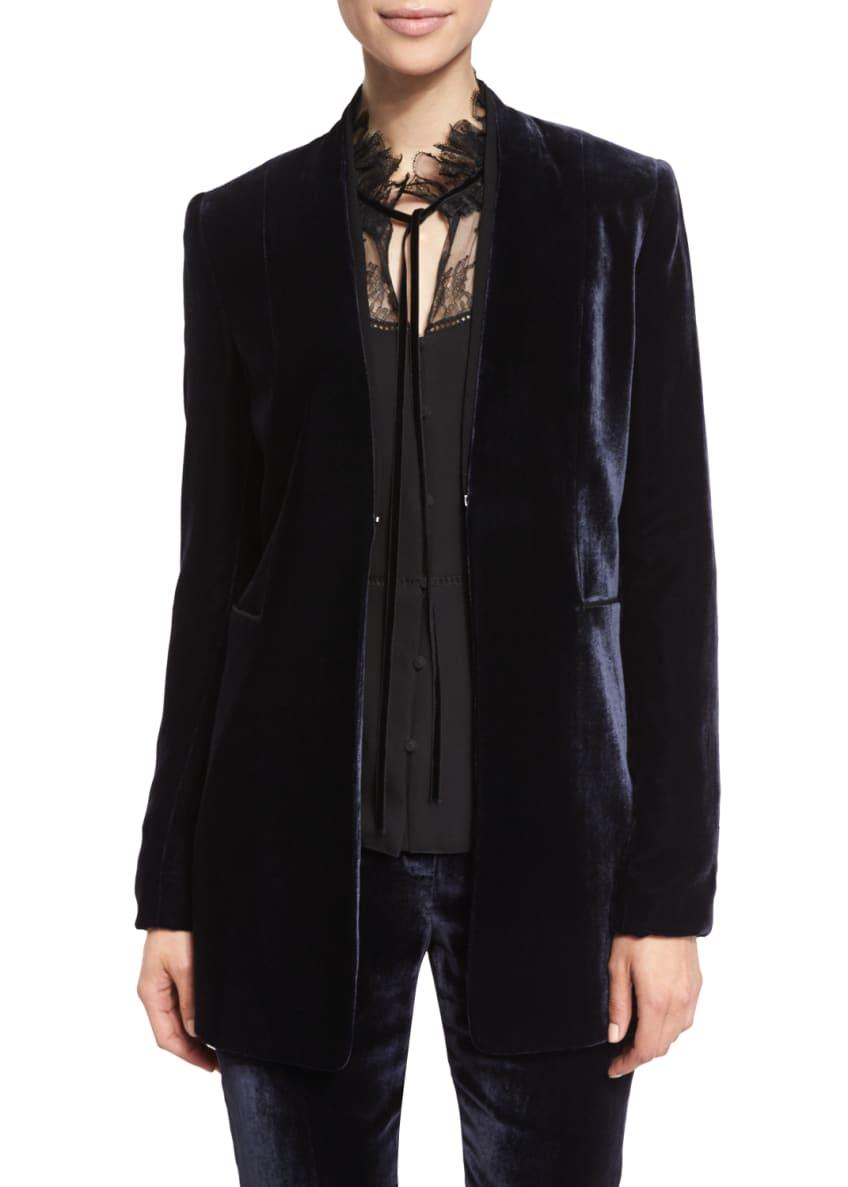 Elie Tahari Antoinette Long High-Sheen Blazer Jacket, Cecille