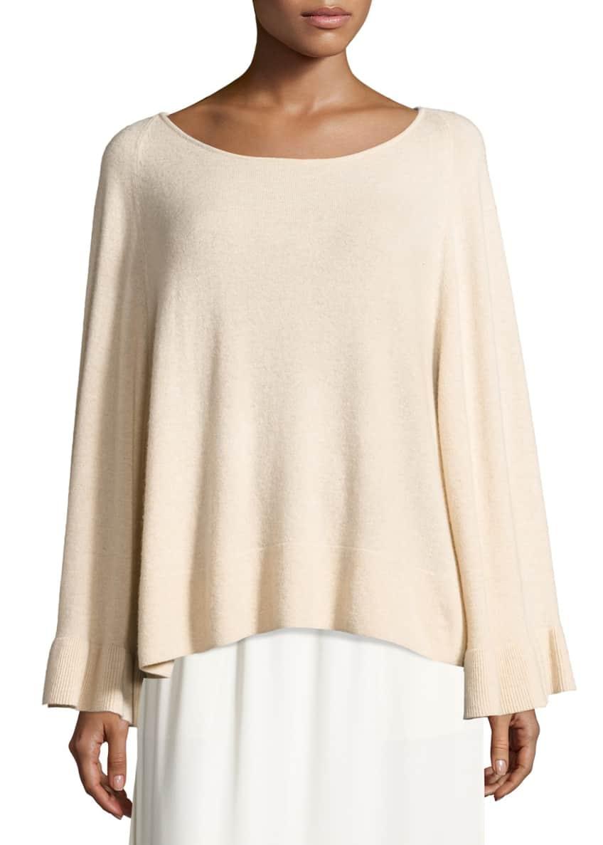 Elizabeth & James Freja Wool-Blend Flutter-Sleeve Sweater Ember