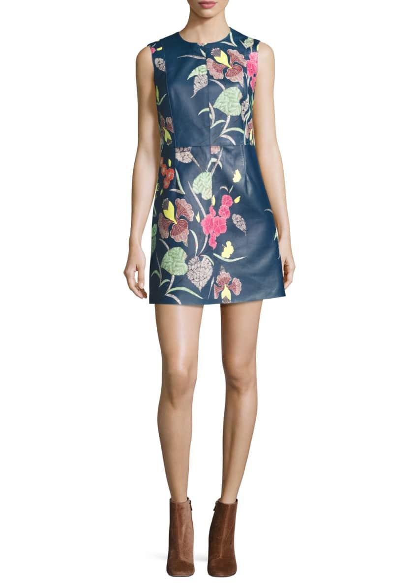 Diane von Furstenberg Floral-Print Leather Shift Dress &