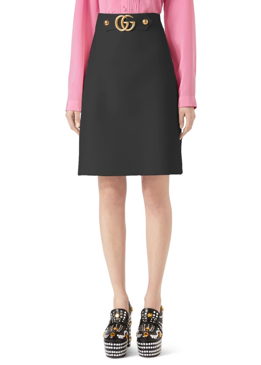 Gucci Wool-Silk A-Line Mini Skirt, White & Matching
