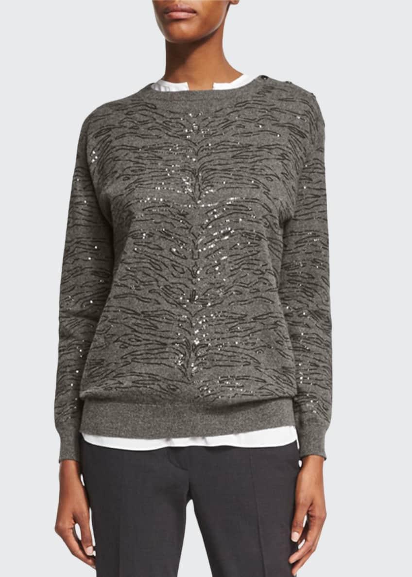 Brunello Cucinelli Animal Paillette Cashmere Sweater & Matching