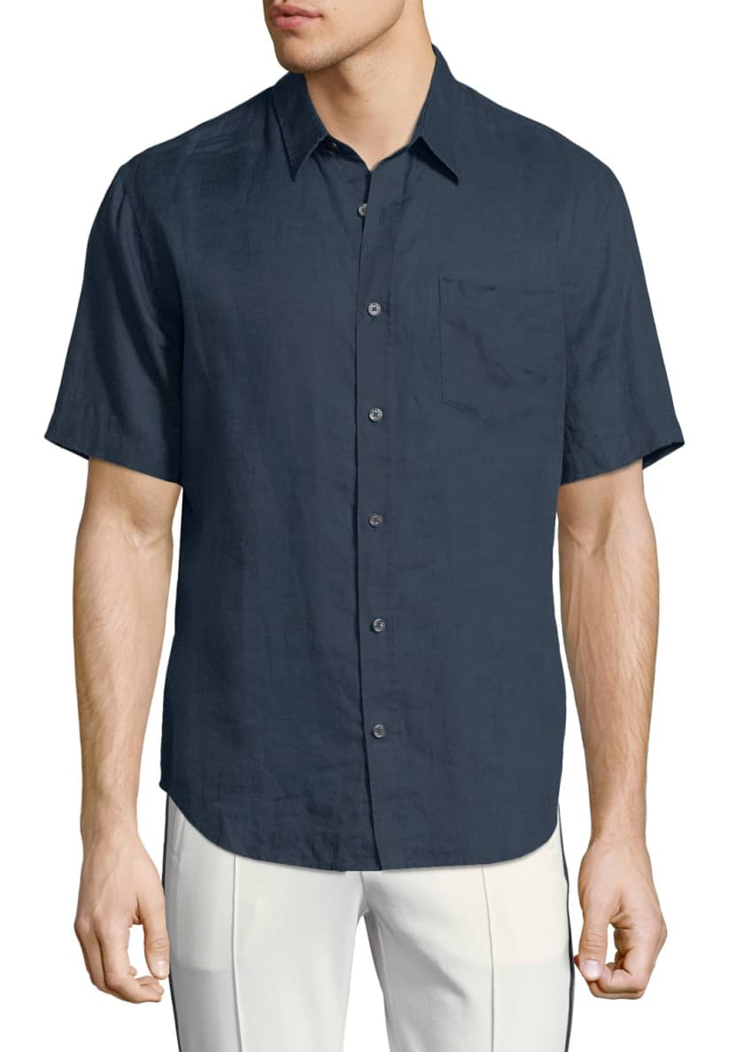 Vince Washed Linen Short-Sleeve Sport Shirt & Matching